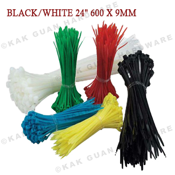 """BEISIT BLACK/WHITE 24"""" 600 X 9MM CABLE TIE (100PCS)"""