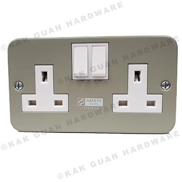 T & J M8913SD 13A X 2 METAL CLAD SWITCH SOCKET