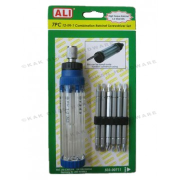 ALI 503-00711 7PCS 12-IN-1 COMBINATION RATCHET SCREWDRIVER SET