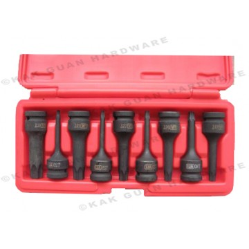 "ALI 504-00909 9PCS 1/2"" SQUARE DRIVE TORX-STAR IMPACT BIT SOCKET SET"