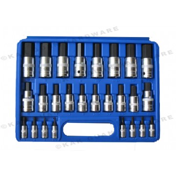 "ALI 504-02603 26PCS 1/4"", 3/8"" & 1/2"" SQUARE DRIVER HEXAGON BIT SOCKET SET"