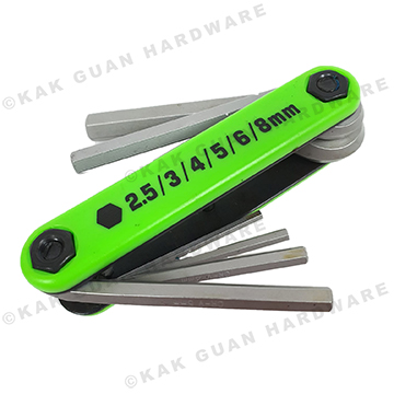 6PCS NEON FOLDING HEX KEY WRENCH SET