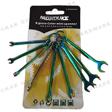 9PCS COLORED MINI SPANNER SET (SIZE 4 - 10MM)