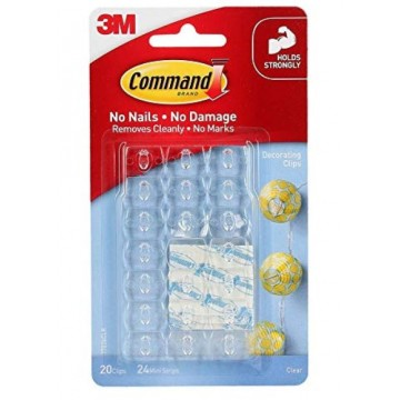 3M COMMAND 17026CLR CLEAR DECORATING CLIPS