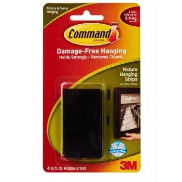 3M COMMAND 17201BLK BLACK MEDIUM PICTURE HANGING STRIPS