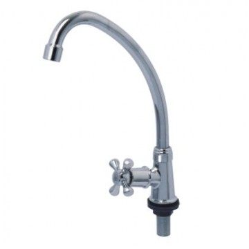 "SHOWY 2655N ""CROSS"" QUARTER TURN ""J"" SPOUT SINK TAP"