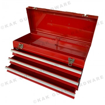 MB-530-3 RED METAL TOOL BOX WITH 3 LAYER DRAWERS